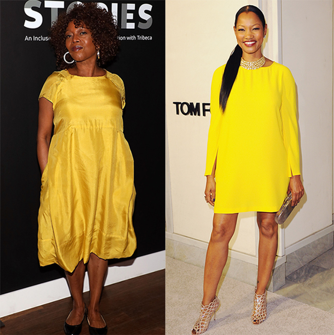 Alfre Woodward and Garcelle Beauvais wearing yellow dresses with sleeves.