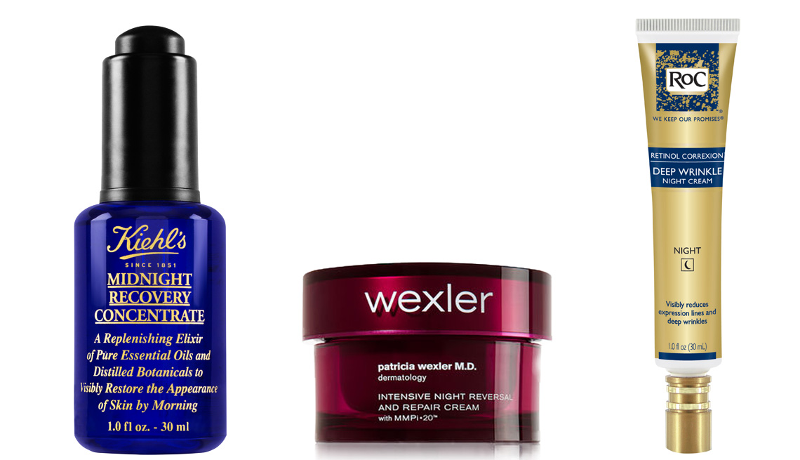 Three product images, Kiehl's Midnight Recovery Concentrate; Wexler Intensive Night Reversal and Repair Cream, ROC Retinol Correxion Deep Wrinkle Night Cream
