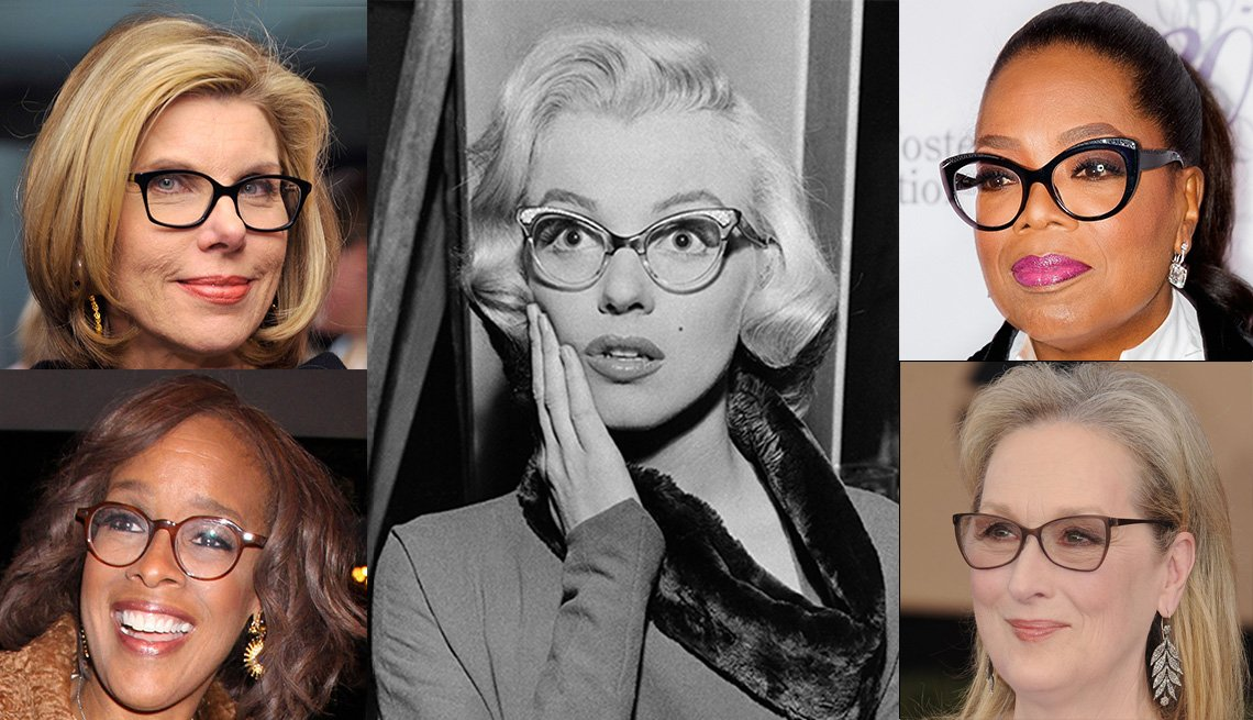 A photo of five female celebrities, including Marilyn Monroe, wearing glasses