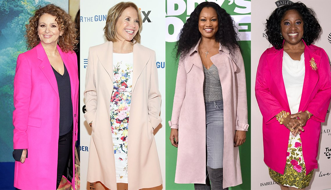 Nadia Sawalha in a dazzling pink notch collar bright single breasted topcoat, Katie Couric in light pink A-line coat, Garcelle Beauvais in light pink trench and La Tanya Richardson Jackson in tailored pink top coat.