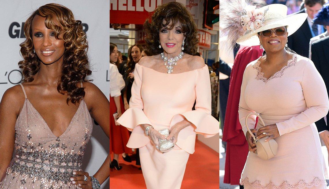 Iman, Joan Collins, y Oprah Winfrey en prendas rosadas.