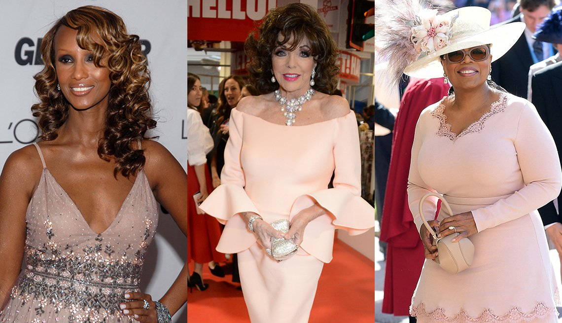 Iman in light pink dress in 2006 and recent photos of Joan Collins in pale pink off-shoulder dress and Oprah Winfrey wearing a pale pink scallop trimmed dress