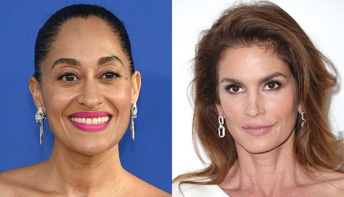 Tracee Ellis Ross with statement pink lips and Cindy Crawford in natural sandy pink lipstick.