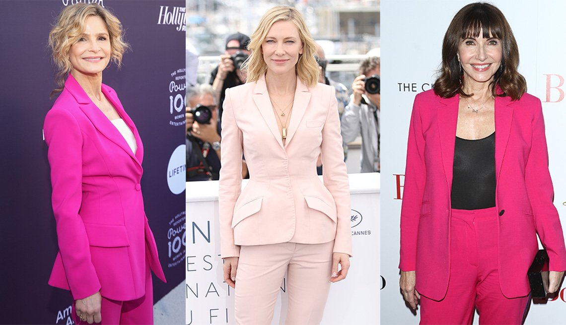 Kyra Sedgwick in a bright pink, Cate Blanchett in baby blush pink and Mary Steenburgen in a peony bright pantsuit and black tank and bag