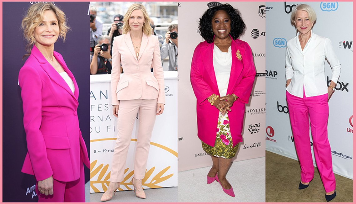 Kyra Sedgwick, Cate Blanchett, La Tanya Richardson Jackson, y Helen Mirren con prendas rosadas