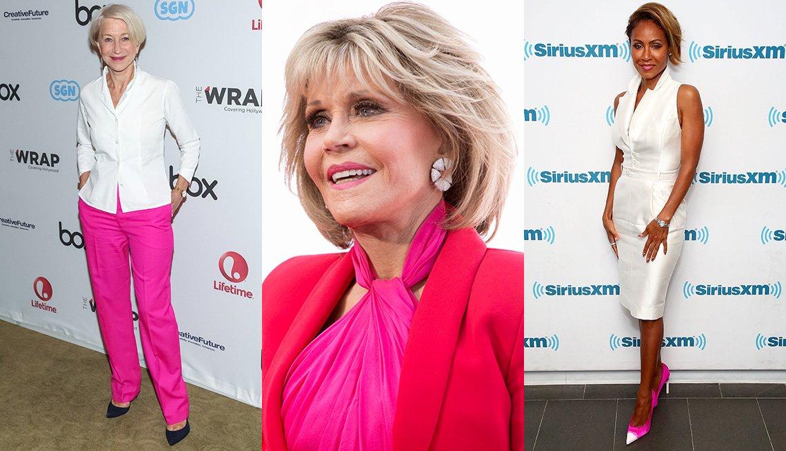 Helen Mirren, Jane Fonda, y Jada Pinkett Smith con prendas rosadas.