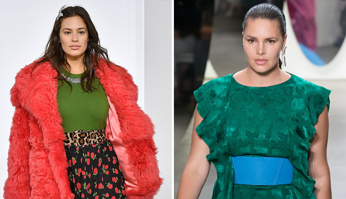 Plus size models Ashley Graham and Candice Huffine on the runway