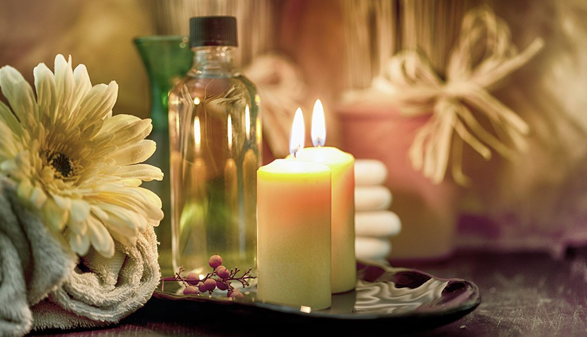 at home spa with candles
