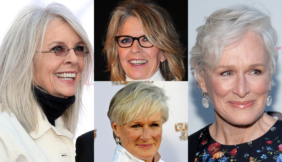 item 1 of Gallery image - Before and after hair color photos of Diane Keaton and Glenn Close