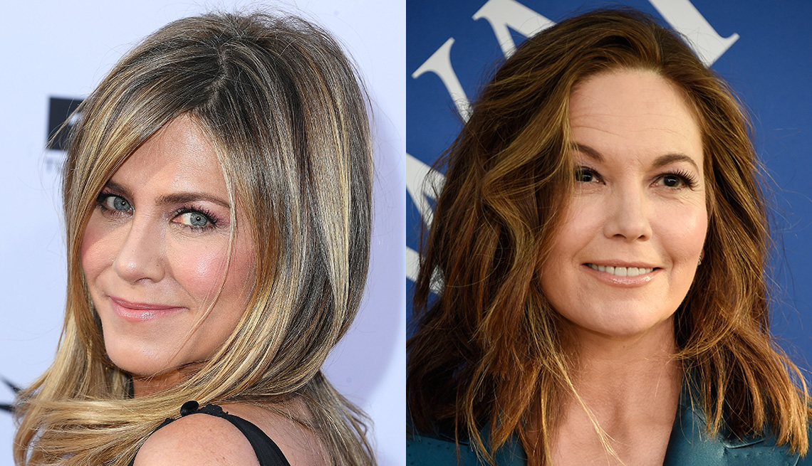 item 10 of Gallery image - Jennifer Aniston with blonde highlights and Diane Lane with brown highlights.