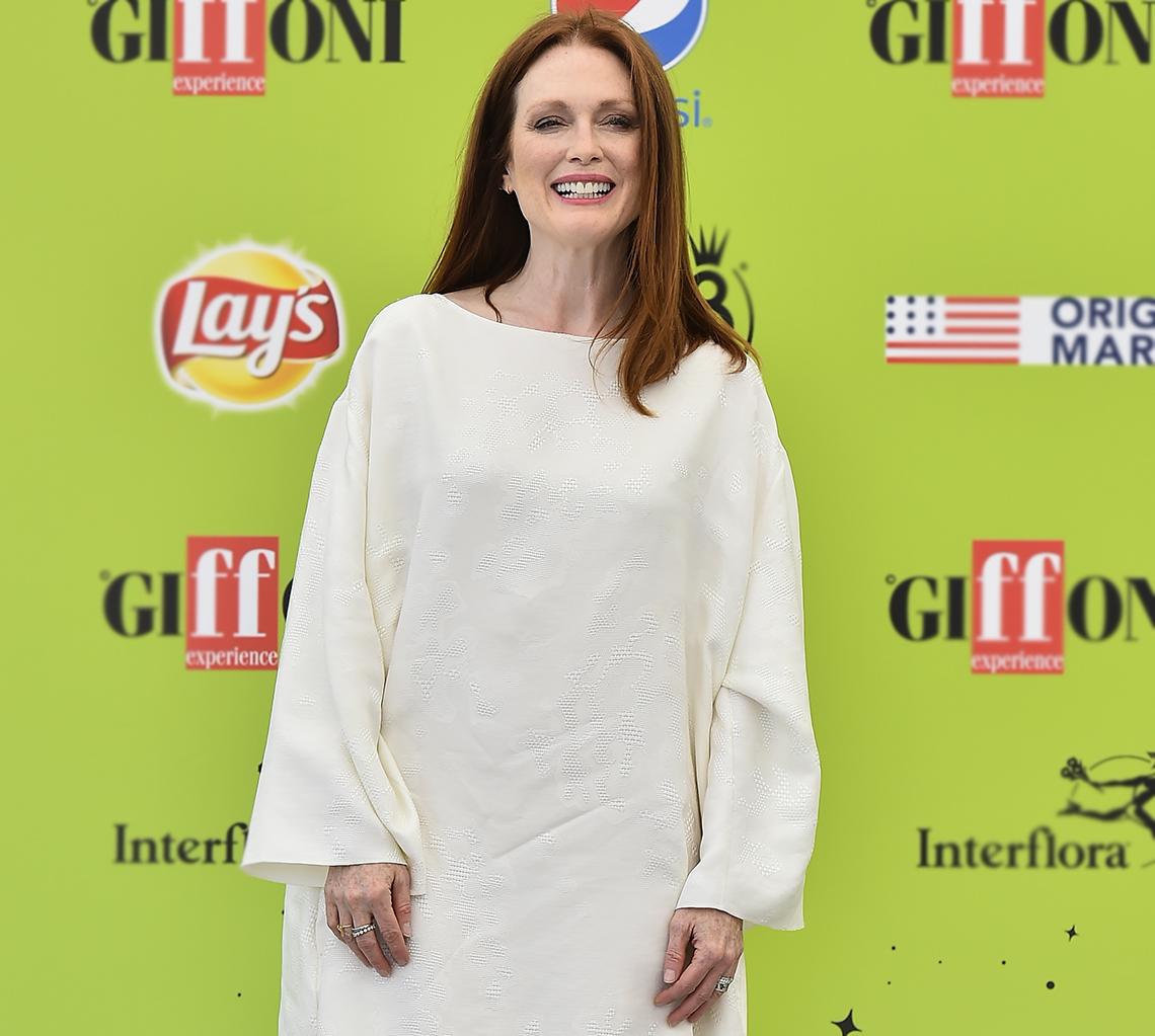 Julianne Moore in a white dress.