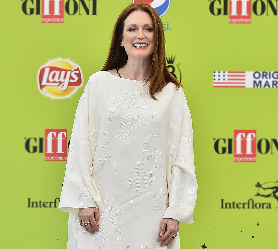 Julianne Moore in a white dress.