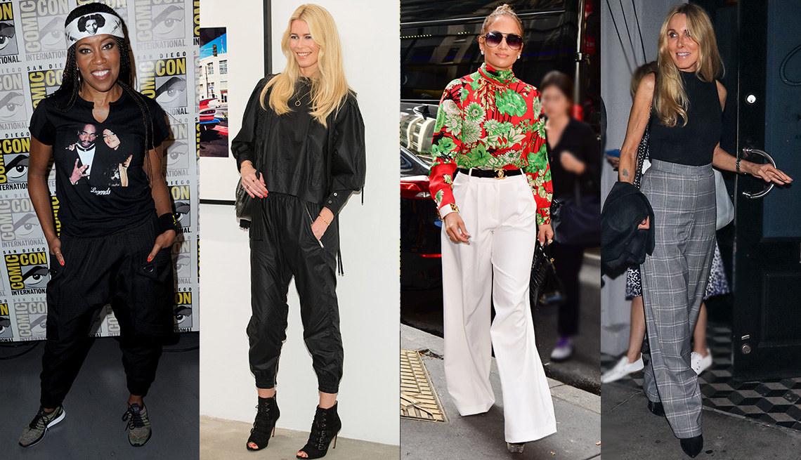 Regina King, Claudia Schiffer, Jennifer Lopez and Alana Stewart wearing pants.