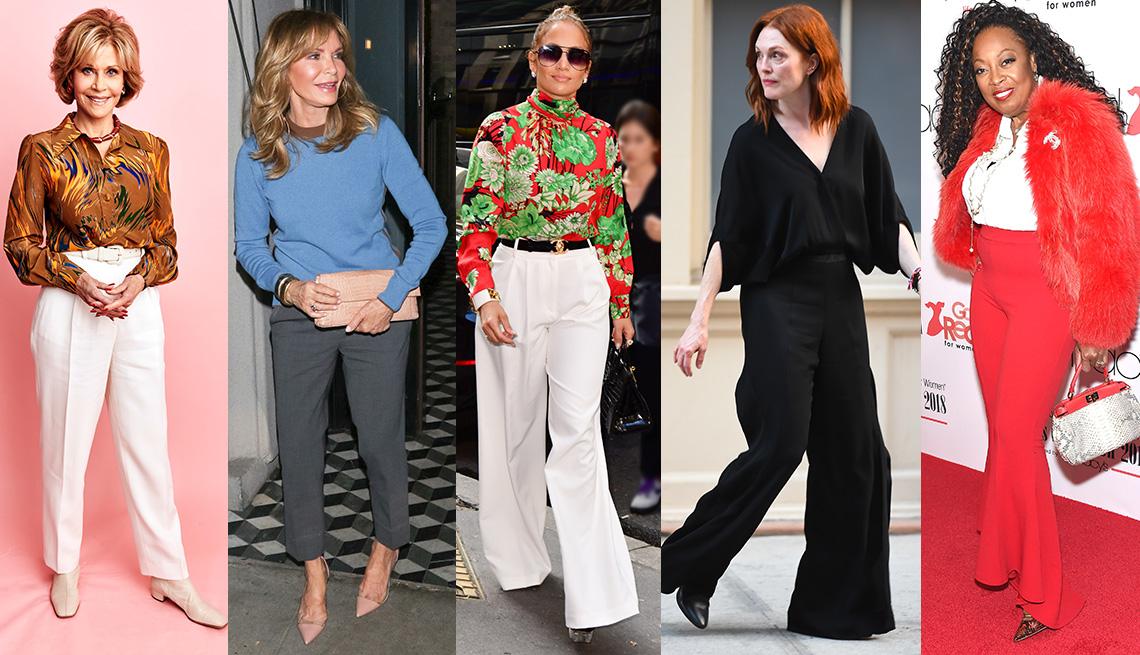 Jane Fonda, Jaclyn Smith, Jennifer Lopez, Julianne Moore and Star Jones wearing pants.