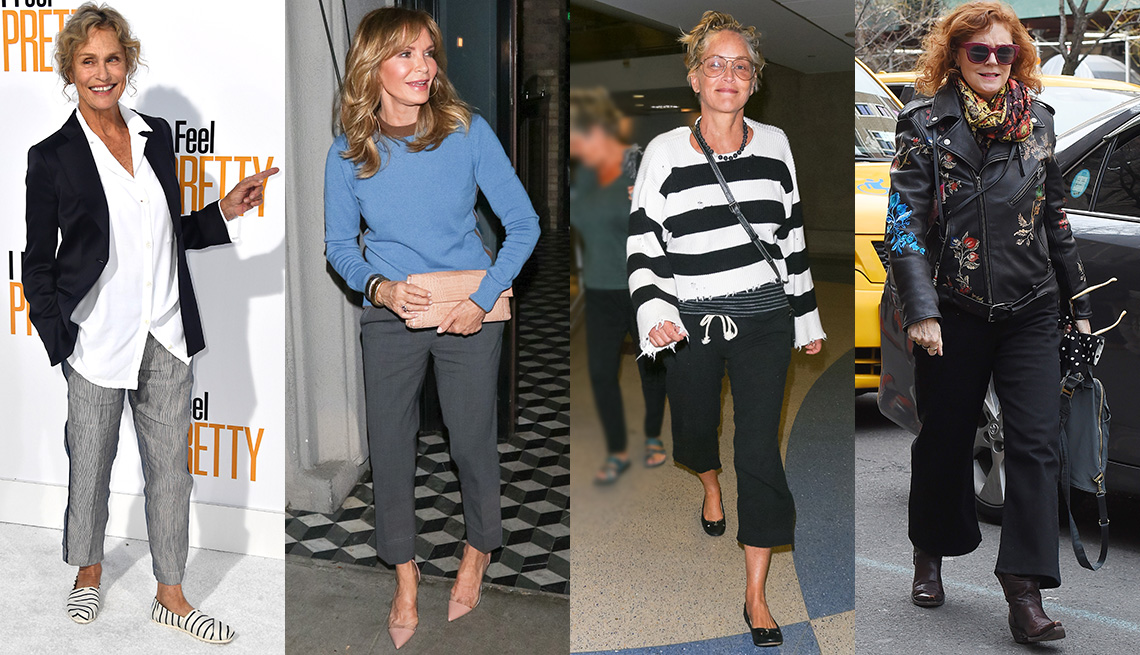 fea0ea278370d Lauren Hutton, Jaclyn Smith, Sharon Stone and Susan Sarandon wearing pants.