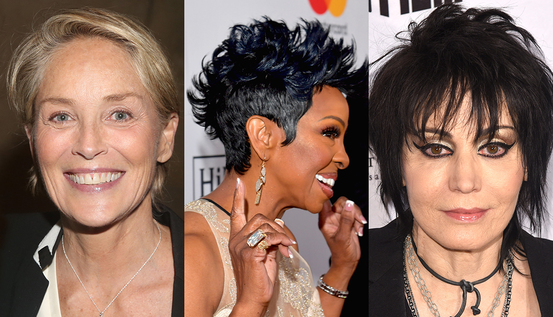 item 4 of Gallery image - Sharon Stone, Gladys Knight and Joan Jett with short hair.