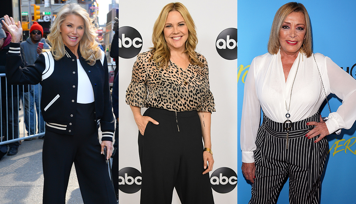 item 2 of Gallery image - Christie Brinkley in navy high waist pants, Mary McCormack in leopard blouse, Sylvia Pasquel in black and white striped high waist pants