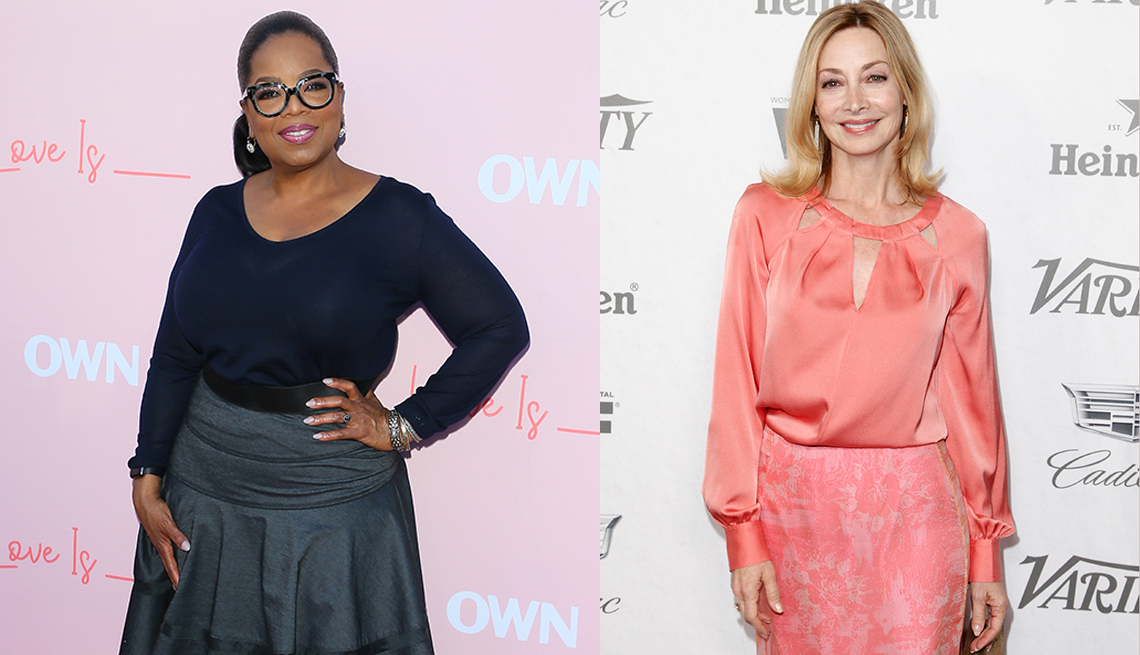 item 3 of Gallery image - Oprah Winfrey in navy fitted V neck top, Sharon Lawrence in pink blouse