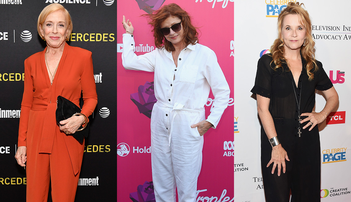 item 9 of Gallery image - Holland Taylor in orange tailored jumpsuit, Susan Sarandon in a white jumpsuit, Lea Thompson in black jumpsuit