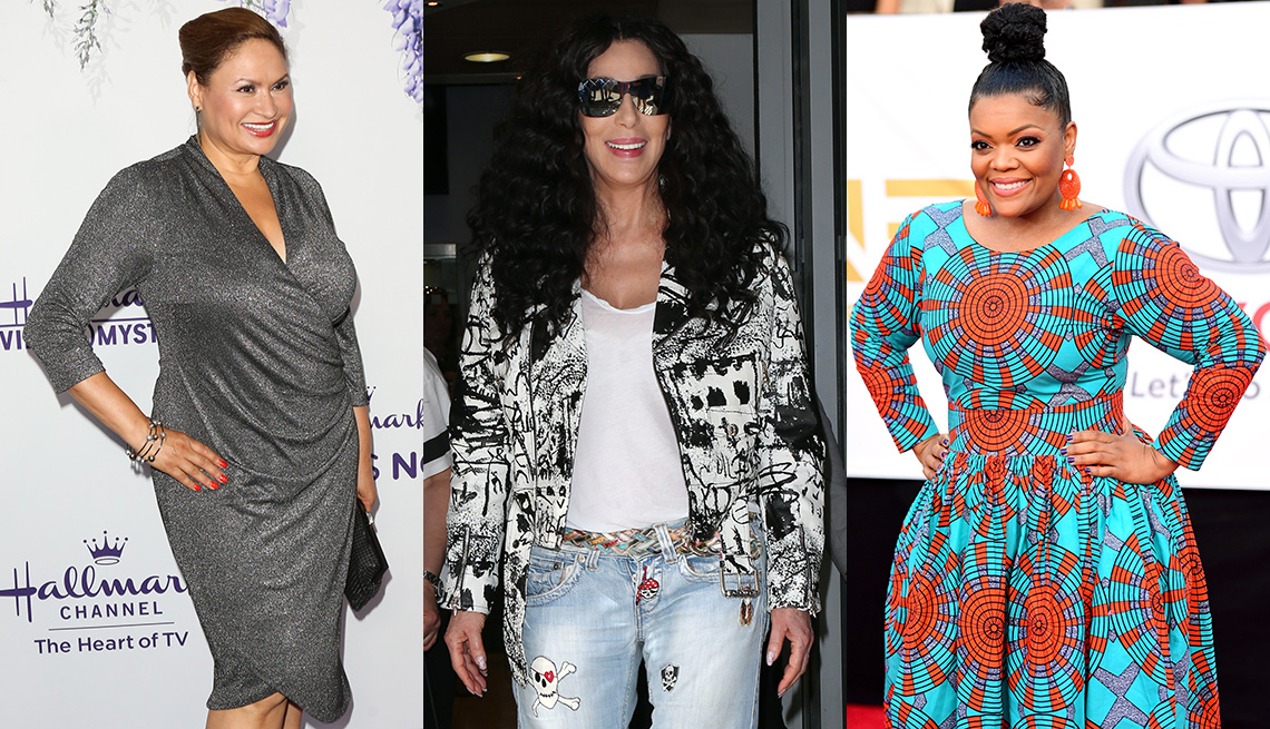 item 10 of Gallery image - Shirley Bovshow in gray shirred dress, Cher in cropped biker jacket, Yvette Nicole Brown in turquoise and orange print fit