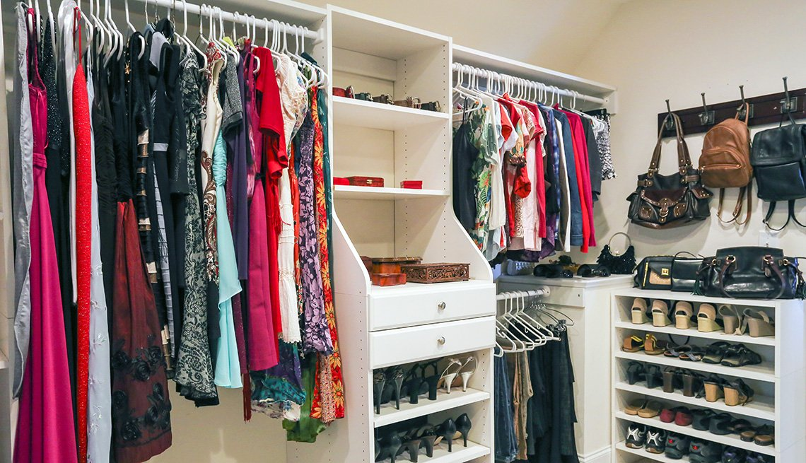 Closet divided into various sections