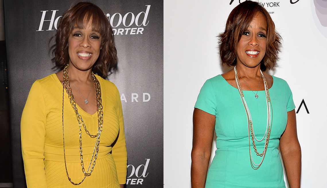 Gayle King in a yellow dress, and an aqua dress