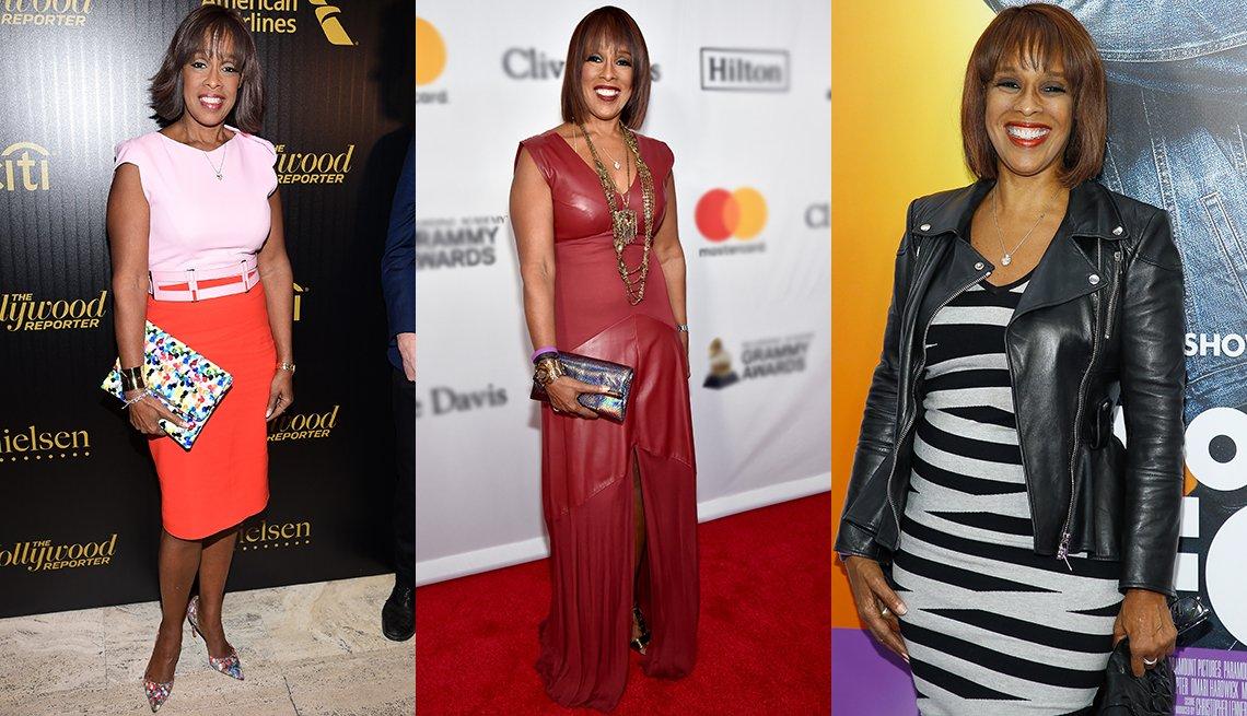 Gayle King in various dresses
