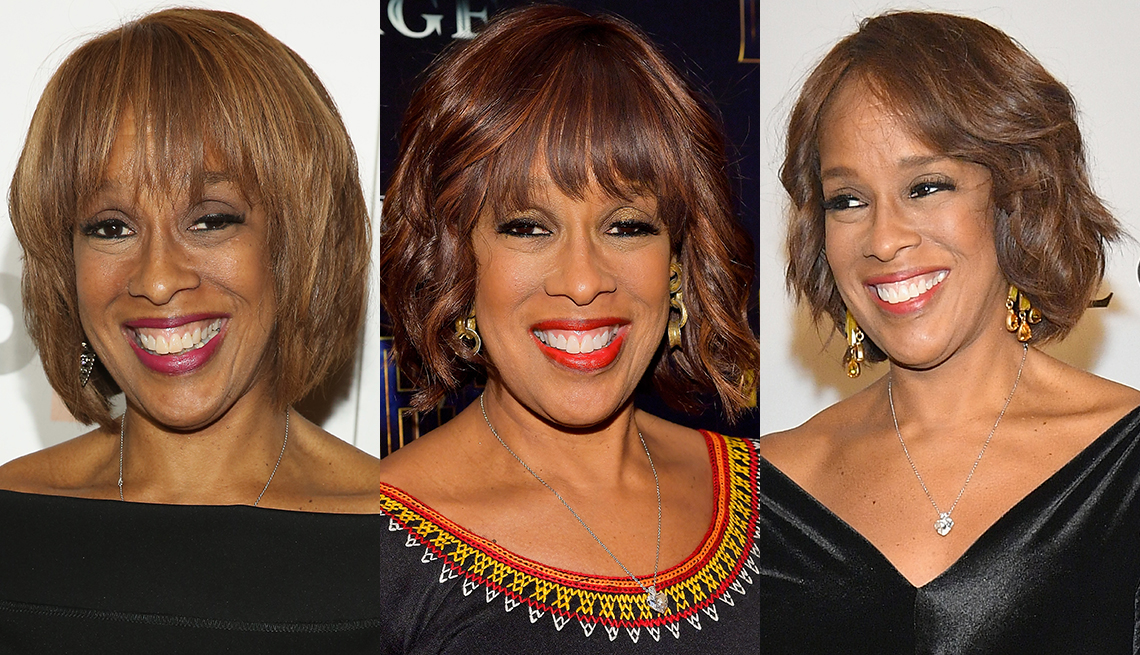 df078a7b1a7a Shots of Gayle Kings with different bob hairstyles and color