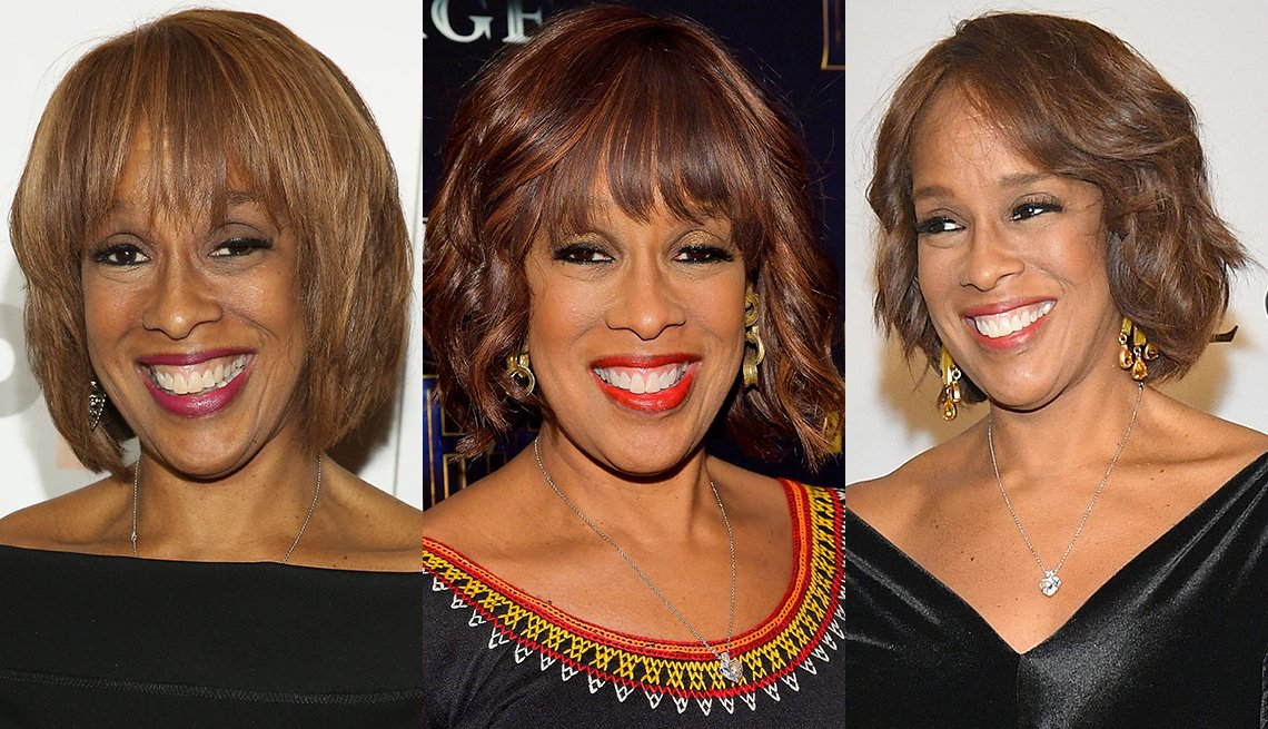 Shots of Gayle Kings with different bob hairstyles and color