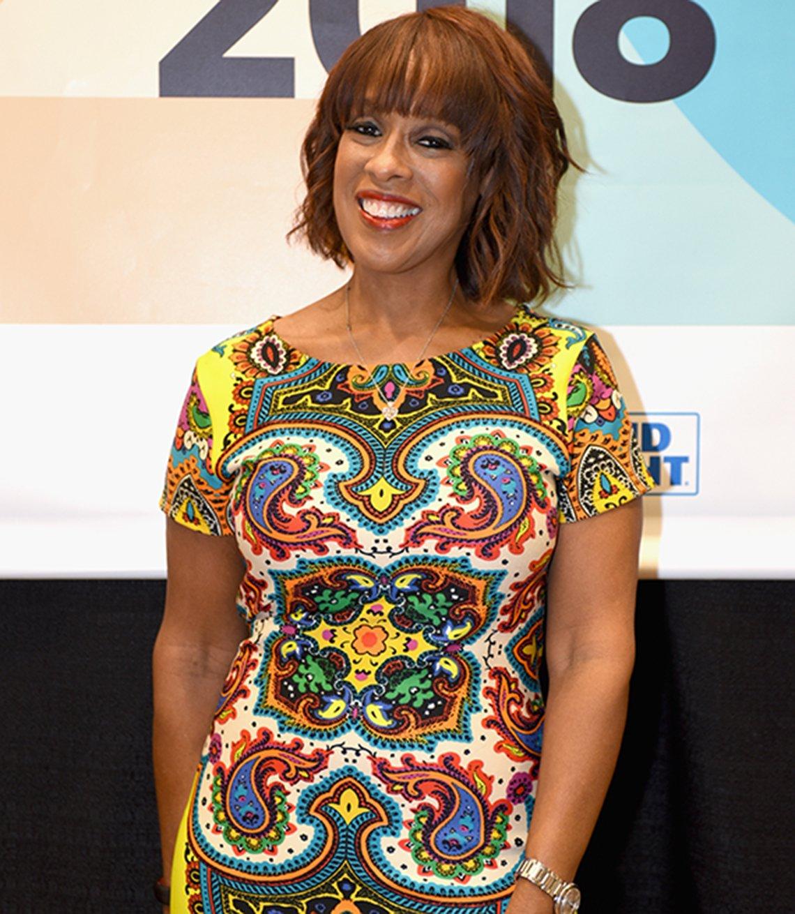 Gayle King in a printed dress
