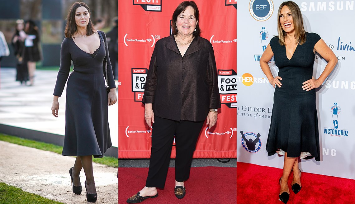 Monica Bellucci, Ina Garten and Mariska Hargitay showing muscular calves