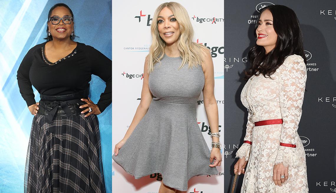 Oprah Winfrey, Wendy Williams and Salma Hayek wearing dresses that complement their boobs