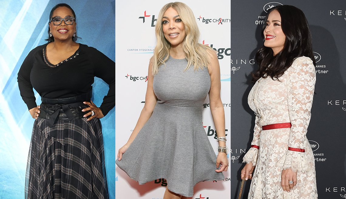 Oprah Winfrey, Wendy Williams and Salma Hayek wearing dresses that complement their boobs