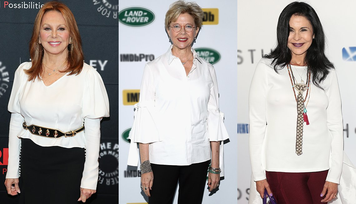item 2, Gallery image. White tops make you pop — just look at (from left) Marlo Thomas, Annette Bening and María Conchita.