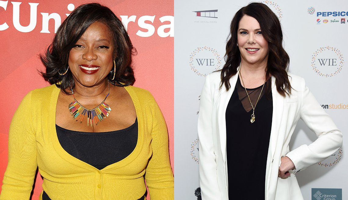 Loretta Devine and Lauren Graham with tops that complement their skin rolls