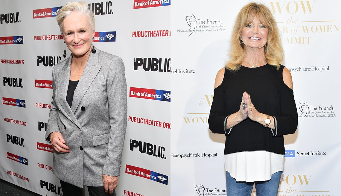 Glenn Close and Goldie Hawn with outfits that complement a belly bulge