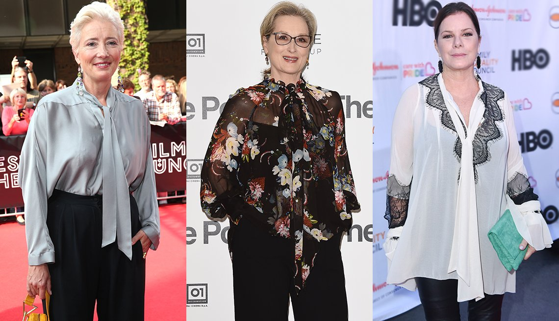 item 4, Gallery image. Tie-neck blouses can be styled many ways, (from left) Emma Thompson, Meryl Streep and Marcia Gay Harden.