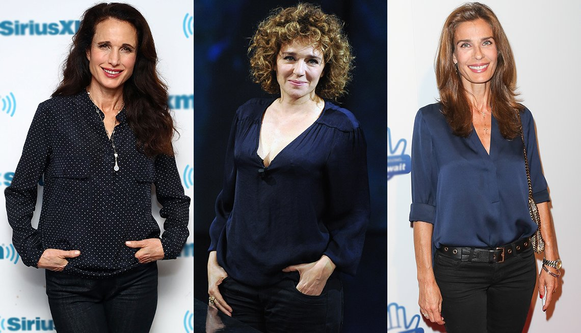 item 5, Gallery image. Navy can boost your appearance — look at (from left) Andie MacDowell, Valeria Golino and Kristian Alfonso.