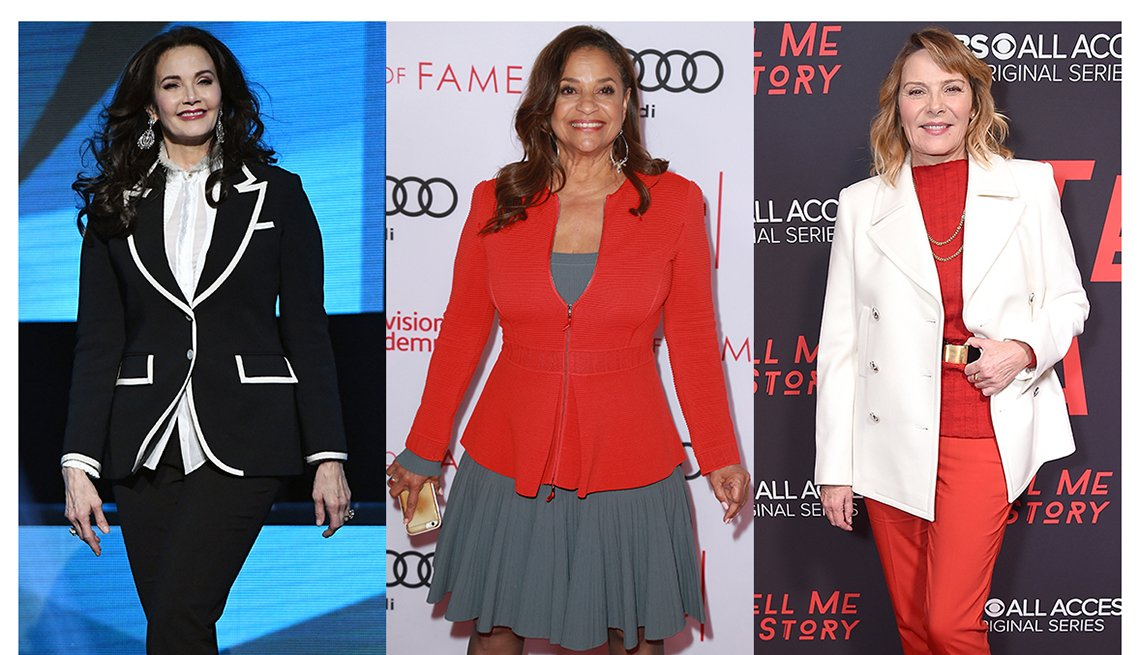 Lynda Carter, Debbie Allen and Kim Cattrall with outfits that complement their shape.