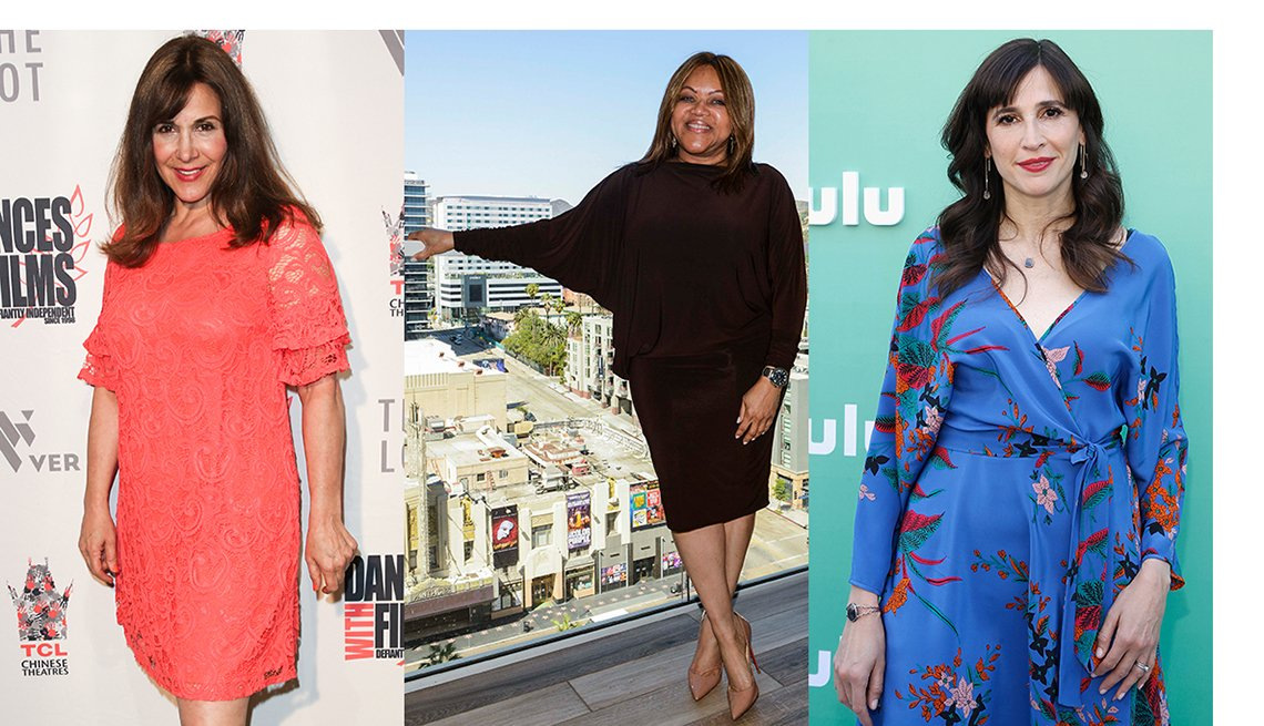 Maggie Wagner, Kymberly Haskins and Michaela Watkins with dresses that complement their arms