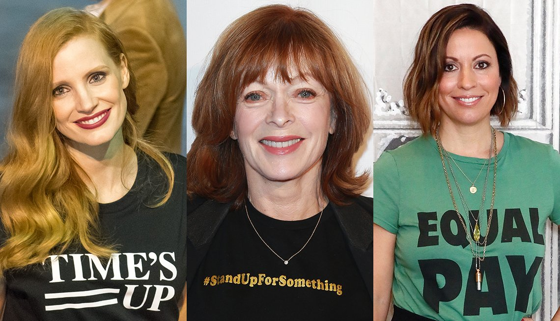 item 7, Gallery image. From left: Jessica Chastain, Frances Fisher and Kay Cannon sport various slogan T-shirts.