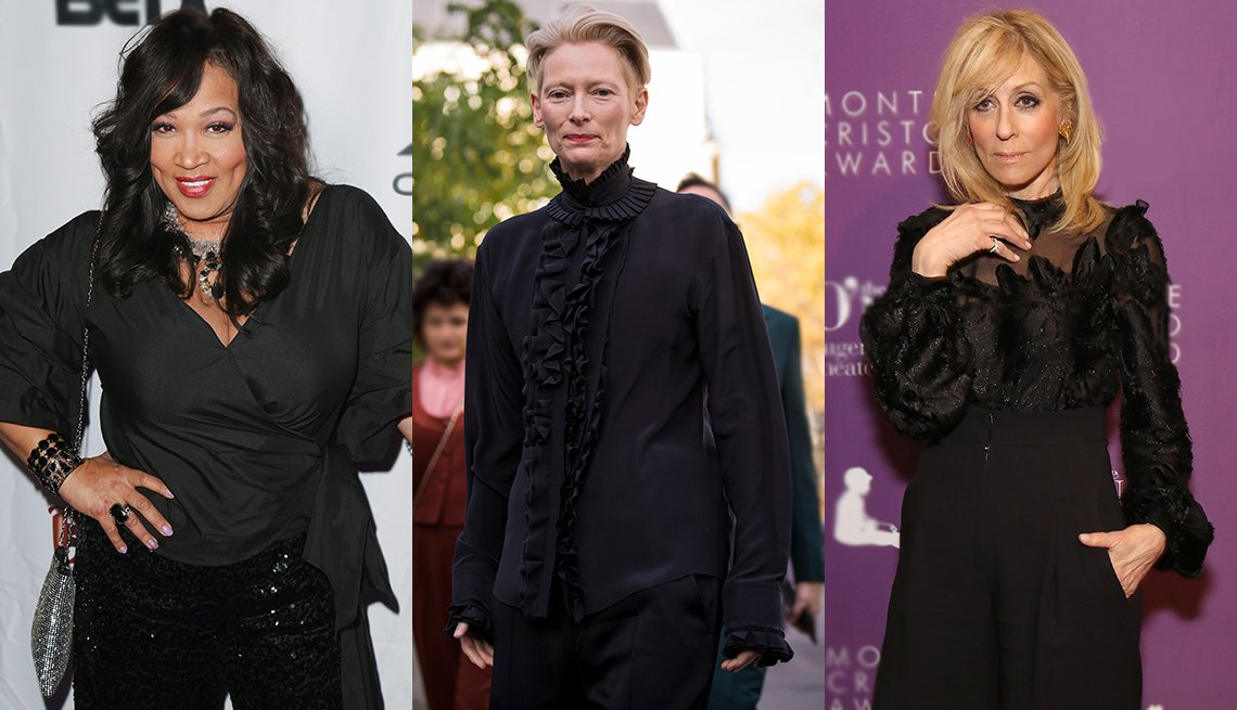 item 10, Gallery image. Black is a go-to color, and you can wear it many ways: (from left) Kym Whitley, Tilda Swinton and Judith Light.