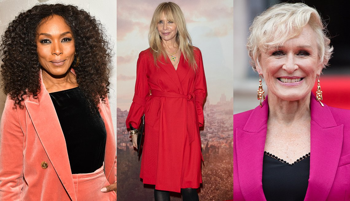 item 1, Gallery image. Angela Bassett in a coral-pink velvet pantsuit, Rosanna Arquette in a red wrap coatdress and Glenn Close in a bright pink blazer.