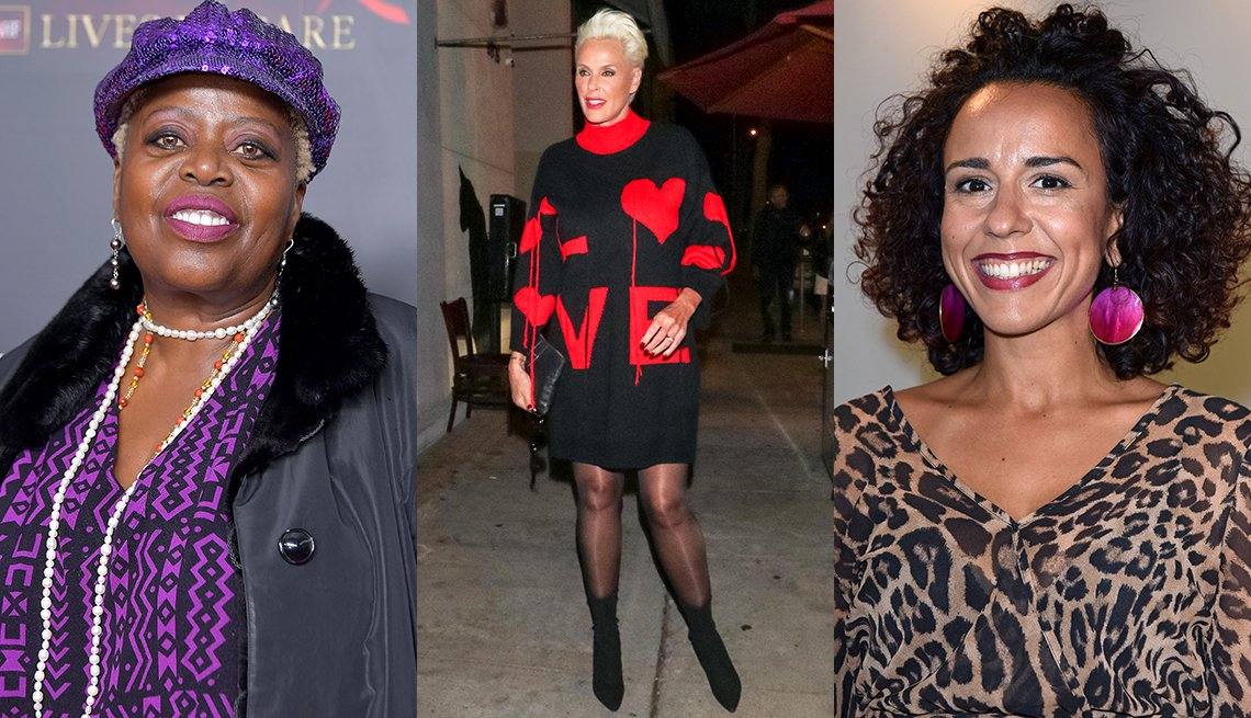 item 11, Gallery image. Lillias White in a violet sequin cap and print top andfuchsia matte lipstick; Brigitte Nielsen in a LOVE sweater dress and black booties; and Dunja Dogmani in fuchsia circle drop earrings, leopard top and deep red lipstick.