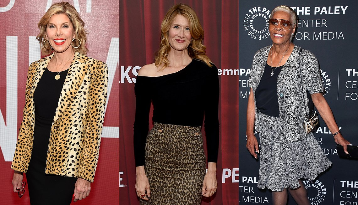 item 2, Gallery image. Christine Baranski in a leopard blazer, Laura Dern in a leopard pencil skirt and Dionne Warwick in a black and white animal print skirt and jacket.