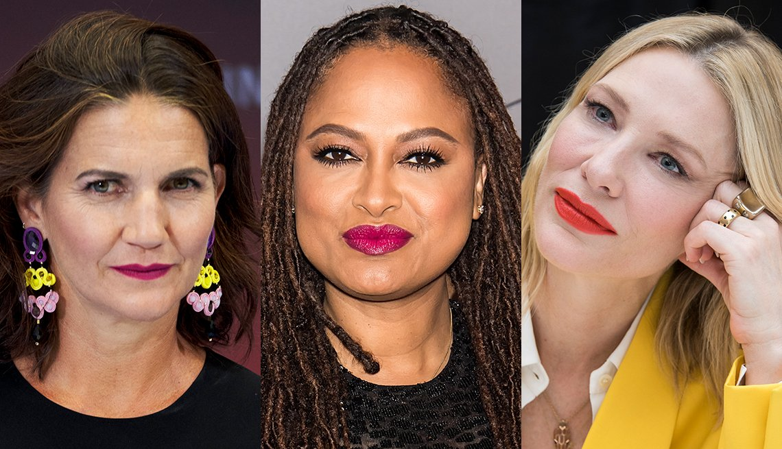 item 4, Gallery image. Samantha Vallejo-Nájera in statement fuchsia lips, Ava DuVernay in bold pink lips and Cate Blanchett with tomato red lips.