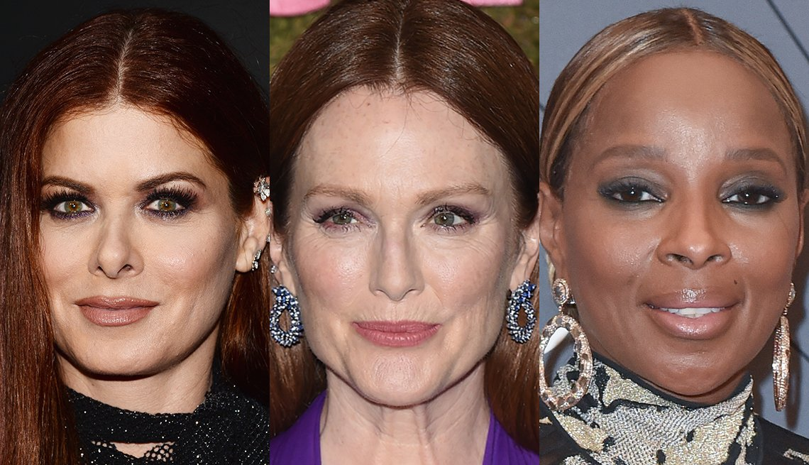 item 5, Gallery image. Debra Messing in dark lined and smoked eyes, Julianne Moore in heavy lashes and minimal eye makeup and Mary J. Blige wearing cool, smoky eyes.