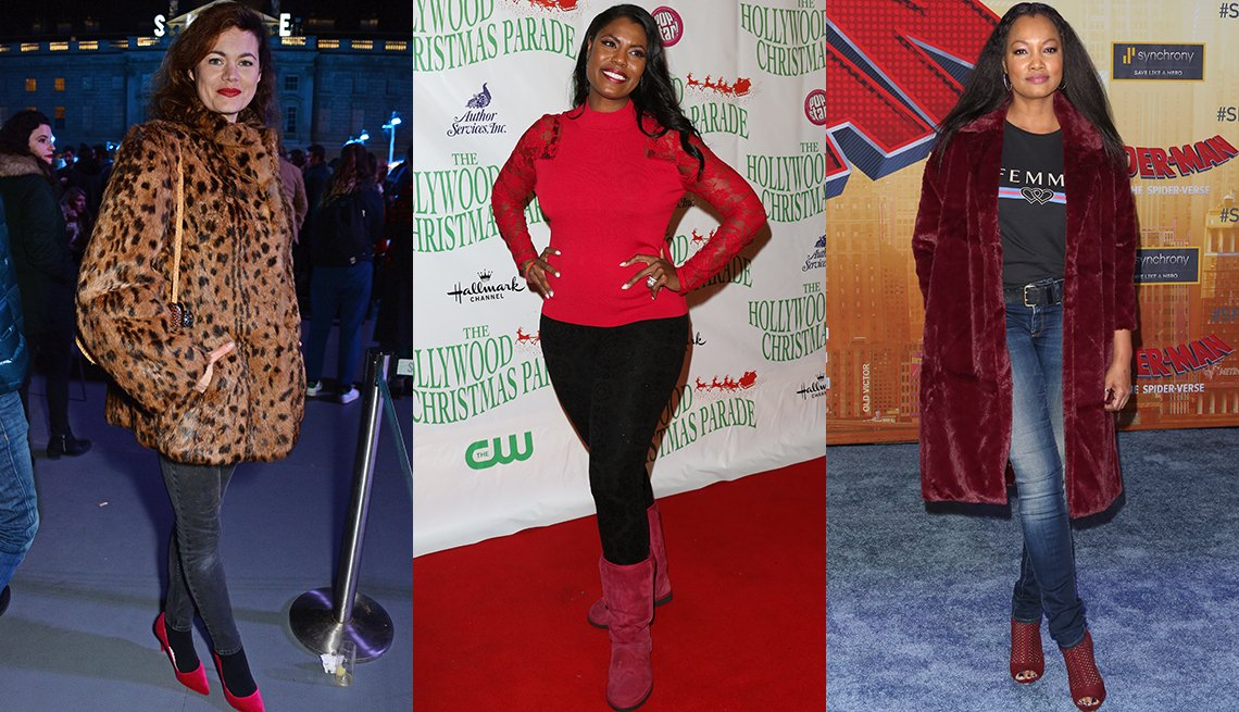 item 7, Gallery image. Jasmine Guinness lights up jeans with red lips and shoes, Omarosa Manigault in a red mockneck over lacy black leggings with booties and Garcelle Beauvais throws on red shearling booties and a red faux fur coat over jeans.