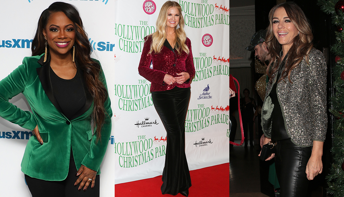 item 8 of Gallery image - Kandi Burruss, Nancy O' Dell and Elizabeth Hurley with colorful tops over black pants