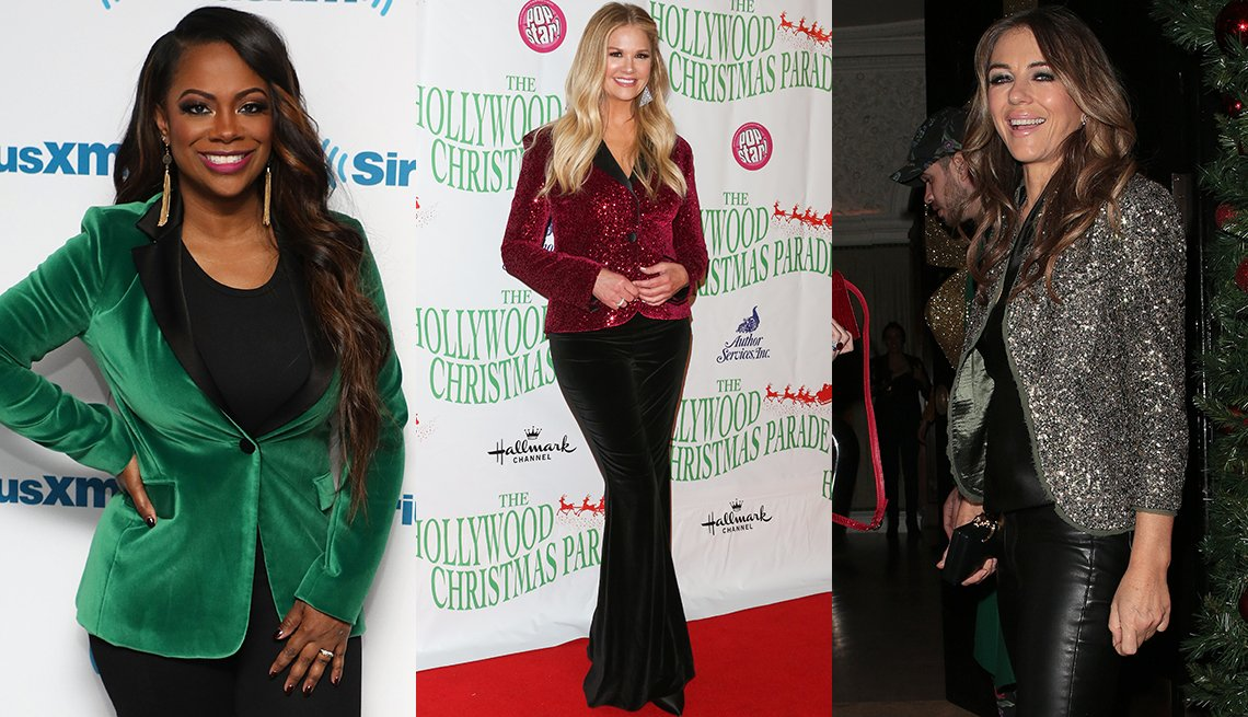 item 8, Gallery image. Kandi Burruss in a green velvet blazer over a black tank and leggings, Nancy O'Dell in black velvet flares and a red-sequin fitted jacket and Elizabeth Hurley in a silver-sequin jacket over a black sweater and leather jeans.